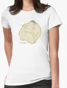 Peachleaf Willow – Gold Tree Rings Womens Fitted T-Shirt