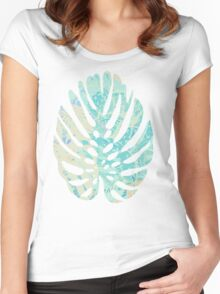 Hand drawn watercolor pattern with  monstera leaves Women's Fitted Scoop T-Shirt