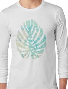 Hand drawn watercolor pattern with  monstera leaves Long Sleeve T-Shirt