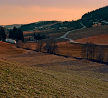 Beautiful valley scenery in the evening   landscape photography Sticker