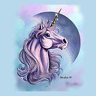 Lunar Unicorn Throw Pillow by cybercat