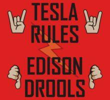 Tesla Rules Edison Drools Baby Tee