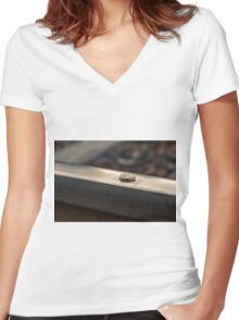 Coin on a chewing gum sticked to the railroad Women's Fitted V-Neck T-Shirt