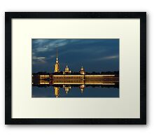 Peter and Paul fortress at night (St. Petersburg, Russia) Framed Print