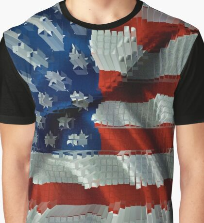 USA 3D Flag Graphic T-Shirt