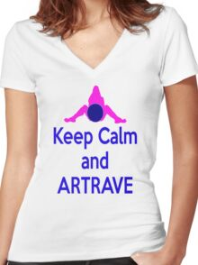 Lady GaGa ArtPop T shirt 1 - Keep Calm and ARTRAVE Women's Fitted V-Neck T-Shirt