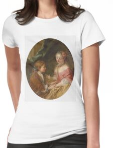 Francois Boucher - De Trois Choses En Ferez-Vous Une T. Woman portrait: sensual woman, girly art, female style, pretty women, femine, beautiful dress, cute, creativity, love, sexy lady, erotic pose Womens Fitted T-Shirt