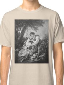 Francois Boucher - Pastoral Scene. Lovers portrait: sensual woman, woman and man, kiss, kissing lovers, love relations, lovely couple, family, valentine's day, sexy, romance, female and male Classic T-Shirt