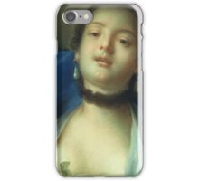 Francois Boucher - Portrait Of A Woman. Woman portrait: sensual woman, girly art, female style, pretty women, femine, beautiful dress, cute, creativity, love, sexy lady, erotic pose iPhone Case/Skin