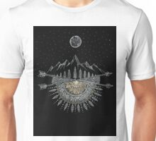 Moon and Stars Night Sky Mountain Range Arrow Mandala Unisex T-Shirt