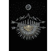 Moon and Stars Night Sky Mountain Range Arrow Mandala Photographic Print