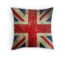 Grunge Union Jack - Scratched Metal Effect Throw Pillow