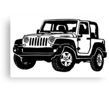 Jeep wrangler black drawing Canvas Print