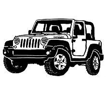 Jeep wrangler black drawing Photographic Print