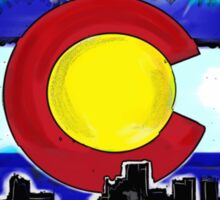 Artistic Denver Colorado skyline design Sticker