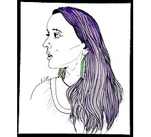 Girl with Feather Earrings Photographic Print