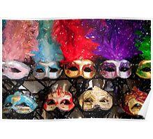 New Orleans Mardi Gras Masks French Quarter Louisiana Artwork Matted Print Poster