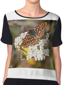 Checkerspot Butterfly on a Yarrow Blossom Chiffon Top