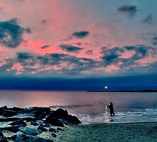 Sunset Fishing at Cape May by Kadwell