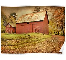 The Red Barns On Old Mine Road Poster