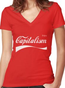 Enjoy Capitalism Women's Fitted V-Neck T-Shirt