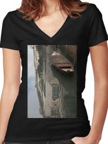 Lonely Boat Women's Fitted V-Neck T-Shirt