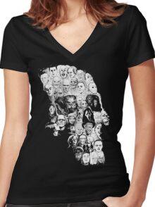 horror skull Women's Fitted V-Neck T-Shirt