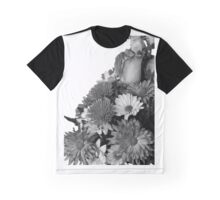 Half of Floral Arrangement in B & W Graphic T-Shirt