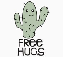 Free Hugs Green Cactus Fun T-Shirt Design by krochelle