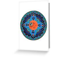 Painted Record Mandala with Dove Label Greeting Card