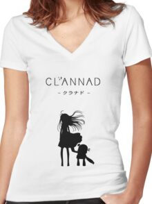 CLANNAD - Girl & Robot Women's Fitted V-Neck T-Shirt