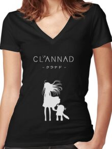 CLANNAD - Girl & Robot (White Edition) Women's Fitted V-Neck T-Shirt
