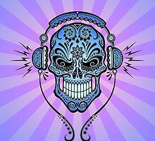 Blue DJ Sugar Skull by Jeff Bartels