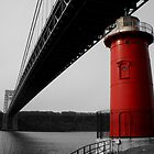 Little Red Light House - Background B&W by Amanda Vontobel Photography