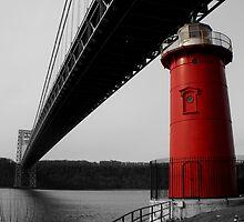 Little Red Light House - Background B&W by Amanda Vontobel Photography