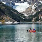 Canoeing on Lake Louise by Dyle Warren