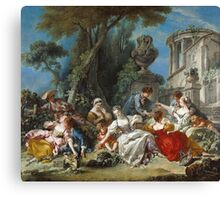 Francois Boucher - The Bird Catchers 1748. Picnic painting: picnic time, man and woman, holiday, people, family, travel, garden, outdoor meal, eating food, nautical panorama, picnic Canvas Print