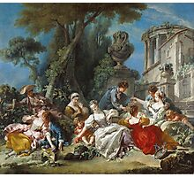 Francois Boucher - The Bird Catchers 1748. Picnic painting: picnic time, man and woman, holiday, people, family, travel, garden, outdoor meal, eating food, nautical panorama, picnic Photographic Print