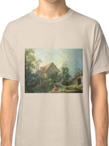 Francois Boucher - The Mill. Lake landscape: trees, river, land, forest, coast seaside, waves and beach, marine naval navy, lagoon reflection, sun and clouds, nautical panorama, lake Classic T-Shirt
