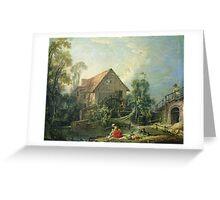 Francois Boucher - The Mill. Lake landscape: trees, river, land, forest, coast seaside, waves and beach, marine naval navy, lagoon reflection, sun and clouds, nautical panorama, lake Greeting Card