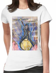 Nikola Tesla Riding The Light Bulb inverted background Womens Fitted T-Shirt