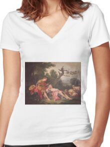 Francois Boucher - The Sleeping Shepherdess. Lovers portrait: sensual woman, woman and man, kiss, kissing lovers, love relations, lovely couple, family, valentine's day, sexy, romance, female and male Women's Fitted V-Neck T-Shirt