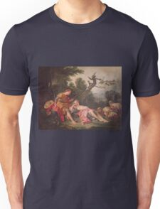 Francois Boucher - The Sleeping Shepherdess. Lovers portrait: sensual woman, woman and man, kiss, kissing lovers, love relations, lovely couple, family, valentine's day, sexy, romance, female and male Unisex T-Shirt
