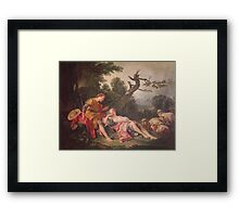 Francois Boucher - The Sleeping Shepherdess. Lovers portrait: sensual woman, woman and man, kiss, kissing lovers, love relations, lovely couple, family, valentine's day, sexy, romance, female and male Framed Print