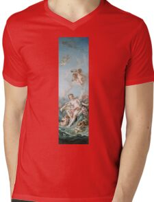 Francois Boucher - Venus On The Waves. Woman portrait: sensual woman, girly art, female style, pretty women, femine, beautiful dress, cute, creativity, love, sexy lady, erotic pose Mens V-Neck T-Shirt