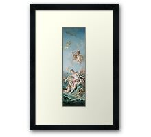 Francois Boucher - Venus On The Waves. Woman portrait: sensual woman, girly art, female style, pretty women, femine, beautiful dress, cute, creativity, love, sexy lady, erotic pose Framed Print