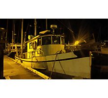 Fishing Boat at Night Photographic Print