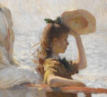 Frank Weston Benson - Summer Day. Woman portrait: sensual woman, girly art, female style, pretty women, femine, beautiful dress, cute, creativity, love, sexy lady, erotic pose Sticker