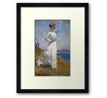 Frank Weston Benson - Sunlight. Woman portrait: sensual woman, girly art, female style, pretty women, femine, beautiful dress, cute, creativity, love, sexy lady, erotic pose Framed Print