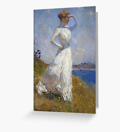 Frank Weston Benson - Sunlight. Woman portrait: sensual woman, girly art, female style, pretty women, femine, beautiful dress, cute, creativity, love, sexy lady, erotic pose Greeting Card